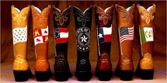 "Custom-made boots on the theme of ""Six Flags Over Texas"" by Dave Wheeler at the Texas State History Museum, Austin, TX Austin Texas, Texas Humor, Texas Cowboys, Republic Of Texas, Texas Flags, Loving Texas, Custom Boots, Texas Pride, Six Flags"