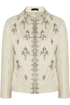 Biyan|Karel embellished cotton-blend faille jacket|NET-A-PORTER.COM