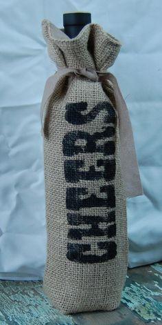 Wine bottle bag burlap
