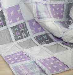 A perfect blend of fawns, plaid & modern prints can be found in this cozy handmade Lilac Grove Raggy quilt for your little misses. Rag Quilt, Quilts, Keepsake Quilting, Modern Prints, Little Miss, Lilac, Cozy, Blanket, Handmade