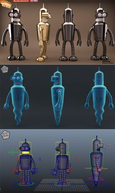 Maya Tutorial:  Creating an Advanced Multi-Character Rig for Futurama's Bender in Maya – Part 1    http://cg.tutsplus.com/tutorials/autodesk-maya/creating-an-advanced-multi-character-rig-for-futuramas-bender-part-1/