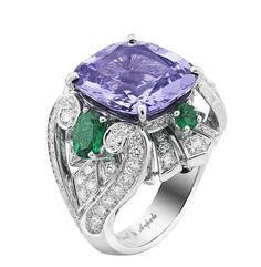 Van Cleef & Arpels Peau d'Ane The Enchanted Forest collection Flower Night ring in white gold with a central purple cushion cut spinel, diamonds and oval and round-cut emeralds. (The Jewellery Editor) Van Cleef Arpels, Van Cleef And Arpels Jewelry, High Jewelry, Jewelry Rings, Jewelry Box, Beautiful Rings, Gemstone Jewelry, Jewelry Collection, Fashion Jewelry