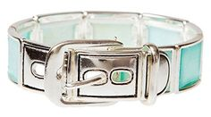 Square Imitation Aqua Blue Shell Belt Stretch Silvertone Bracelet * More info valentines gift ideas could be found at the image url.