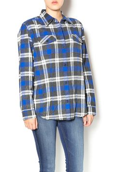 Blue plaid cozy flannel long sleeve blouse with a button front closure. Plaid shirts are fall staples. Style this top with dark wash skinny jeans and ankle booties. Blue Knitted Plaid Top by Keren Hart. Clothing - Tops - Long Sleeve Clothing - Tops - Blouses & Shirts Kentucky