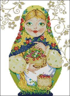 point de croix femme russe saison été - cross stitch russian girl season summer
