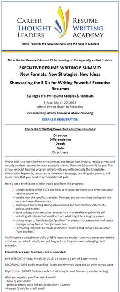 RESUME E-SUMMIT WEBCAST TRAINING WINNING RESUME FORMATS What - winning resume formats