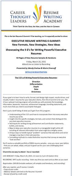RESUME E-SUMMIT WEBCAST TRAINING WINNING RESUME FORMATS What - winning resume formats