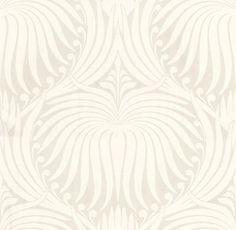 Lotus (BP 2007) - Farrow & Ball Wallpapers - An elegant artisanal lotus-flower in a repetitive design. Shown here in white on cream water based paints - more colours are available. Please request a sample for true colour match.