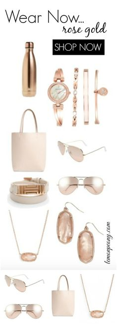 Rose Gold Accessories! Sunglasses, S'Well Water Bottles, Jewelry, Purses, Watches, Necklace, and More! Summer to Fall Transition Pieces that are trendy!