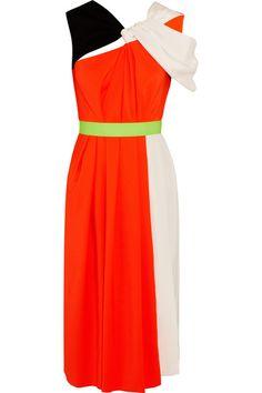 Roksanda Ilincic color-block silk-satin & crepe dress. Neon-orange Moroccan crepe spliced with black & beige silk-satin.