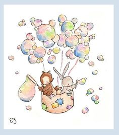 Sailing On Bubbles. PRINT 8X10. Nursery Art Wall by LoxlyHollow