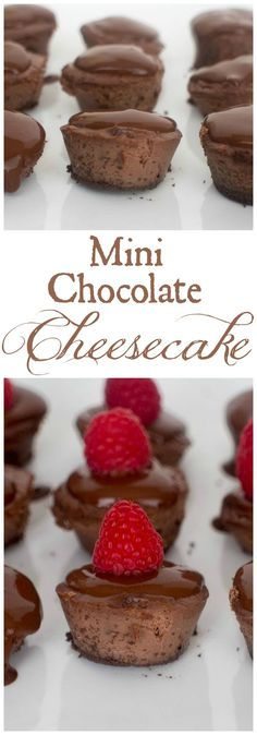 Mini Chocolate Cheesecake -These tasty bite size chocolate cheesecakes are made with Splenda and covered with sugar free chocolate sauce and raspberries.