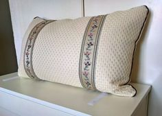 Decorative pillow cover beige flower trim elegant by StyleAndDeco