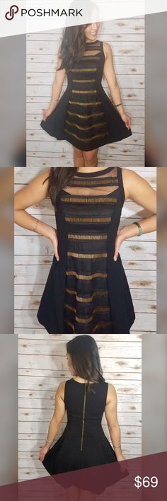 ⭐NWT!Plenty by Tracy Reese Gold Embellished Front PERFECT FIT AND VERY FLATTERING! Plenty by Tracy Reese Gold Embellished Beaded and Black Sheer Front Black Dress Flared And Stretch Zipper Back NWT!  Bust 32 Waist 24 Hip 34.5 Plenty by Tracy Reese Dresses