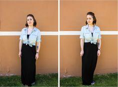 Black Maxi Dress with a Denim Shirt #style #fashion #outfit #ootd #fashionblog #fblogger #fblog #fashionblogger #outfitidea #chambrayshirt #chambray #denim #maxi #maxidress