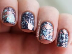Galaxy splatter nails. LOVE THESE. <3