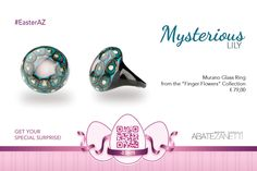 Glass Ring, Murano Glass, Mysterious, Mystery, Finger, Egg, Lily, Flowers, Jewelry