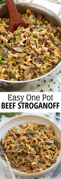 Beef Stroganoff – this is so hearty and delicious! Love that it uses ground beef… Beef Stroganoff – this is so hearty and delicious! Love that it uses ground beef but still has great flavor. via Jaclyn {Cooking Classy} Beef Recipes For Dinner, Cooking Recipes, One Pot Recipes, Ground Beef Dinner Ideas, Recipes Using Ground Beef, Soup Recipes, Cooking Food, Ground Beef Meals Healthy, Geound Beef Recipes