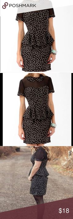NWOT PEPLUM BLACK & CREAM POLKA DOT DRESS - S NWOT PEPLUM BLACK & CREAM POLKA DOT DRESS - S. this dress is too cute and I got on Posh but just changed jobs and haven't had the chance to wear so cleaning out my closet. Dresses