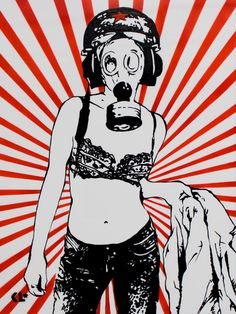 Gas Mask Girl with jacket, enamel on perspex by Kathrin Longhurst
