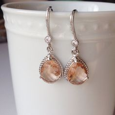 Champagne Peach Glass Stone Pendant Earrings. Sterling silver Wedding or Bridesmaids Earrings.   on Etsy, $27.00