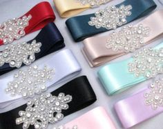Bridesmaid Sashes, Wedding Dress Sash, Crystal Rhinestone Sash, Bridal Belt, Jeweled Beaded Sash, 35 Colors / Teal / Pink / Blue / Green