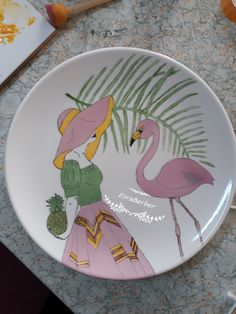 Painted Plates, Ceramic Plates, Ceramic Pottery, Ceramic Painting, Diy Painting, Hang Plates On Wall, Plate Art, Coffee Art, Colorful Pictures