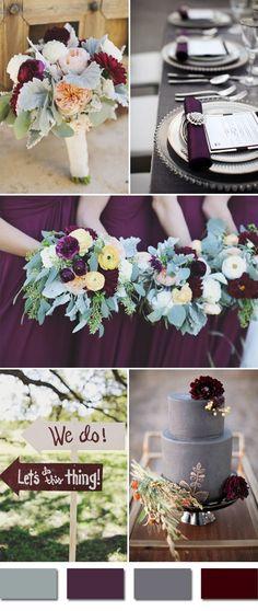 plum and grays fall wedding color ideas for september brides #SeptemberWeddingIdeas