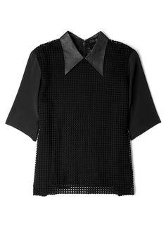 Black Leather Collar Macrame Top by Tibi