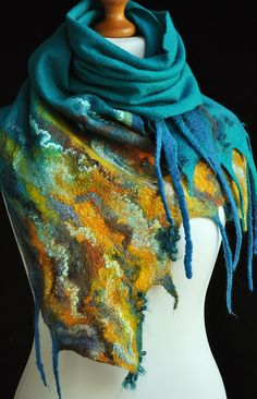 Free shipping Hand felted scarf merino wool by ShellenD on Etsy