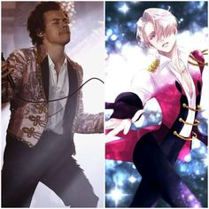 So someone on Instagram(who hasn't even watched yoi) pointed out that Harry Styles looks like he is dressing up as Viktor. And I'm like bitch yes! This is literally what I said when I saw these pictures of Harry. Now he just needs his Yuuri(Louis) to perform with him.