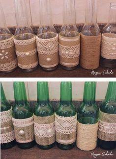 58 Ideas For Wedding Ideas Souvenir Diy Simple Diy Bottle, Wine Bottle Crafts, Bottle Art, Diy Crafts To Sell, Home Crafts, Diy Home Decor, Bridal Shower Decorations, Wedding Decorations, Garrafa Diy