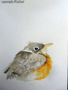 Baby Robin Bird watercolor painting original nursery art by 4WitsEnd, via Etsy