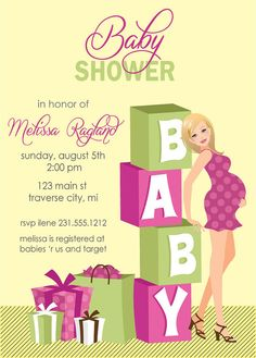 Blocks Baby Shower Invitations  Girl Baby by AnnounceItFavors, $15.00