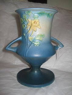 Roseville Columbine Vase blue 151-8 from White Rose Antiques on Ruby Lane