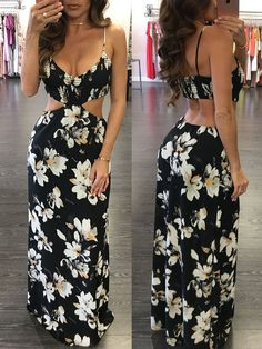 Stylish Floral Pierced Maxi Slip Dress