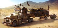 Wasteland Truck by Darkki1 | Digital Art / 3-Dimensional Art / Vehicles / Terrestrial | Fallout Schoolbus Truck Vehicle Wasteland Desert Post-Apocalyptic