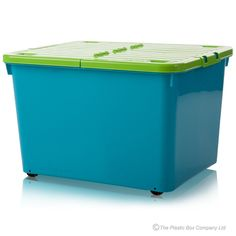 44lt Box with Wheels and Folding Lid - Blue / Lime Green