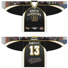 2013 Jersey for North Carolina - State Wars! Made at the Projoy Sportswear & Apparel factory in Guelph, Ontario, Canada.