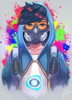 Fortnite Wallpaper : Illustration Description Tracer by julpen Joker Hd Wallpaper, Graffiti Wallpaper, Overwatch Tracer, Tracer Art, Gas Mask Art, Masks Art, Gaming Wallpapers, Cute Cartoon Wallpapers, Marshmello Wallpapers