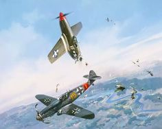 Clash of Eagles: Me 109 ramming a Mustang. Mustang pilot became a P. The pilots of both planes met after the war and became friends. Painting by Roy Grinnell Ww2 Aircraft, Fighter Aircraft, Military Aircraft, Luftwaffe, Air Fighter, Fighter Jets, Focke Wulf, War Thunder, Aircraft Painting