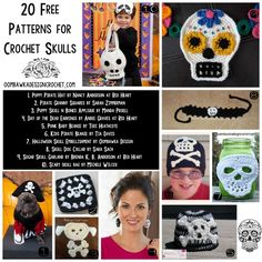 Get ready for Halloween early this year and decorate with one of these fantastic Crochet Skulls - 20 Free Patterns to choose from! Halloween Items, Halloween Skull, Halloween Crafts, Crochet Monkey, Crochet Baby, Free Crochet, Crochet Motif, Crochet Toys, Crochet Skull Patterns