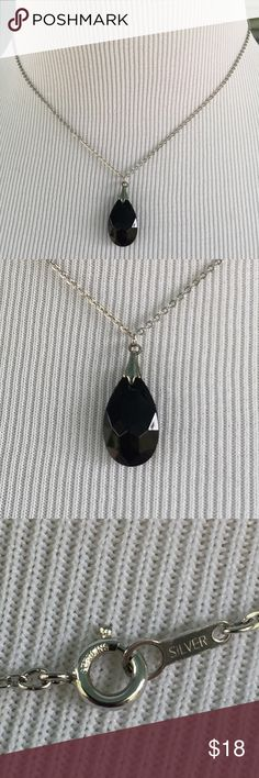 """Black Teardrop Pendant on 925 Silver Chain Black Teardrop Bead Pendant on 925 Silver Chain.   1/2"""" x 1"""" pendant.   16"""" 925 silver chain. Jewelry Necklaces"""