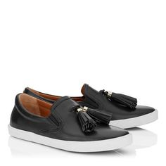 66cf4d1d90e Jimmy Choo Dale Flat Black Vacchetta Leather Slip On Trainers With Tassel  Embellishment