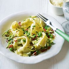 Ravioli with Bacon, Peas & Courgette