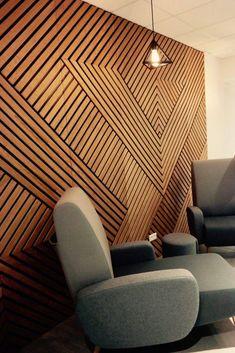 Wall Panel Design, Wall Decor Design, Wood Design, 3d Wall Panels, Interior Walls, Home Interior Design, Interior Decorating, Wood Slat Wall, Wood Slat Ceiling