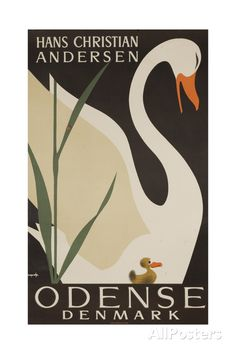 Vintage travel poster for Odense, the birthplace of H.C. Andersen in Denmark. The Ugly Duckling was one of his fairy tales. Odense Denmark, Copenhagen Denmark, Old Posters, Denmark Travel, Denmark Tourism, Plakat Design, Retro Poster, Hans Christian, Aarhus