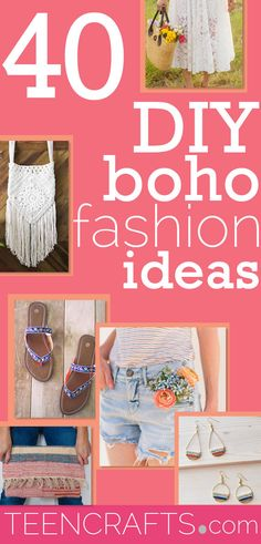 Boho Clothes DIY Fashion for Bohemian Style Hippie Clothing - Vintage Style Clothing to Make - Cheap Teen Fashion Ideas #teencrafts #fashion Diy Fashion, Teen Fashion, Fashion Ideas, Vintage Fashion, Fashion Trends, Diy For Teens, Crafts For Teens, Teen Crafts, Diy Terracotta Earrings