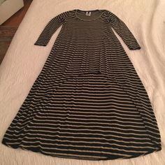 BCBG Max Azria high-low knit dress - so cute! Super cute and comfy BCBG Max Azria knit dress. Soft and stylish. Dark navy-black with beige stripes. Asymmetrical hemline - midi front and maxi back. Head turner. Can be dressed up or down. Great dress! BCBGMaxAzria Dresses High Low