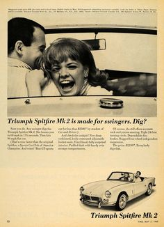 This is an original 1965 black and white print ad for the Triumph Spitfire Mk 2 automobile from Standard-Triumph Motor Company located at 575 Madison Avenue, New York. CONDITION This 46+ year old Item
